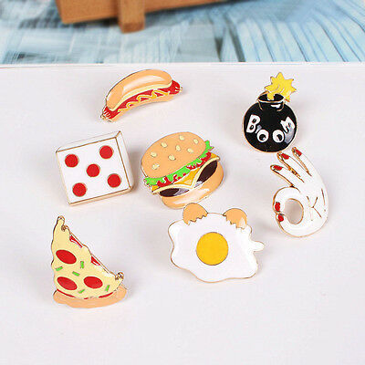 1Pc Metal Pizza Hamburgers Hot Dogs Poached Eggs Dice Bombs Brooches Pin Brooch