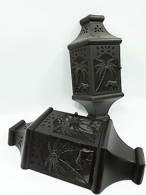 HOME INTERIORS-HOMCO Black Metal Palm Tree & Elephant 3 Dimensional Wall Sconce