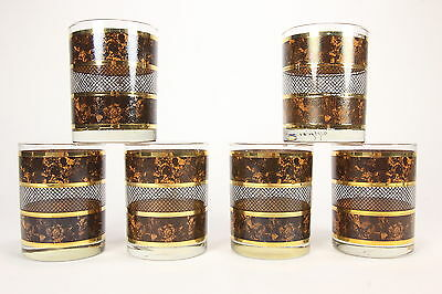 6 Georges Briard MCM Old Fashioned Tumblers Tortoise Pattern Gold Brown Bands