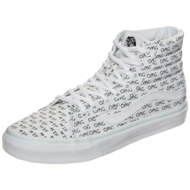 b909e2c3299342 VANS Sayings Sk8 Hi Slim OMG WTF Womens 5.5  Mens 4 Skate Shoes for ...