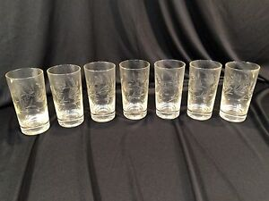 7-Vintage-Bar-Glasses-Clear-Cut-Glass-Approximately-5-034-Floral-Ivy-Pattern