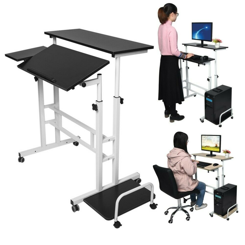 c15e4a5d457a HOT Adjustable Height/180° desktop Laptop Table Computer Stand Desk Rolling  Cart