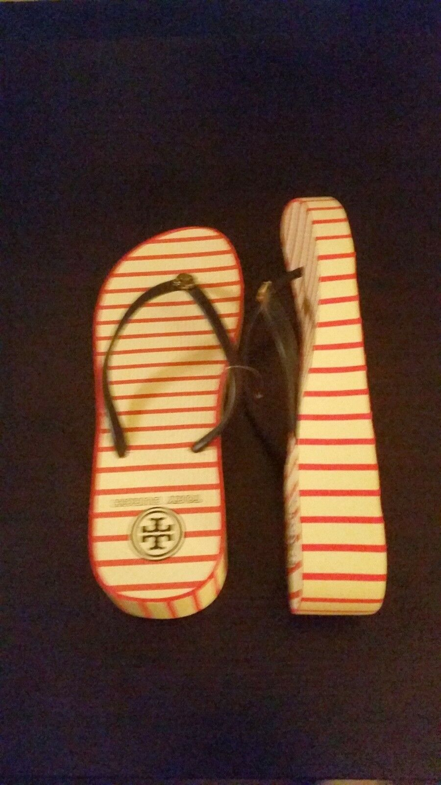 Brand New Wedge Tory Burch Red Stripe Wedge New Flip Flops. Very hard to find! 7a229e