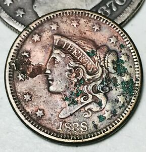 1838-US-Large-Cent-Coronet-Head-1C-AU-Details-Good-Date-US-Copper-Coin-CC3388