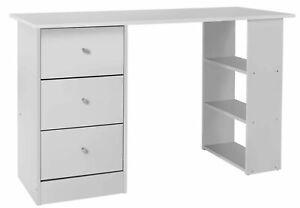 Argos Home Malibu 3 Drawer 3 Shelf Reversible Wooden Office Desk - White