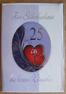 Grußkarte Zur Silberhochzeit 25 Die Besten Wünsche C0134 Ebay