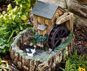 Details About Solar Powered Water Mill With Night Light Fountain Outdoor  Water Feature