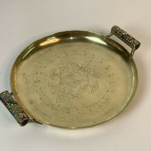 VTG Round Engraved Handmade Brass Tray Serving Polished 7817