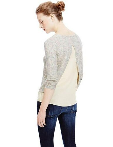 Womens Marl Open Back Double Layer Jumper with Linen
