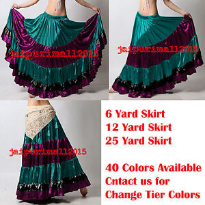 Mix Color Satin 6 - 12 - 25 Yard Tiered Gypsy Skirt Belly Dance Flamenco Ruffled