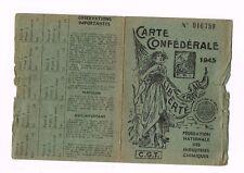 ANCIENNE CARTE CGT DES INDUSTRIES CHIMIQUES 1945