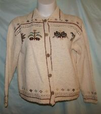 Multi-Color Nordic Icelander Geometric 100% Cotton L/S Cardigan Sweater Size XL