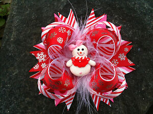 CHRISTMAS-SNOWMAN-SNOWGIRL-RESIN-BOUTIQUE-HAIRBOW