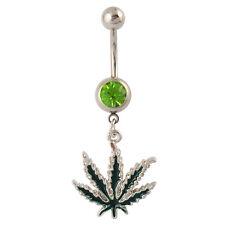 Marijuana Leaf Weed Dangle Belly Ring Navel Piercing Jewelry