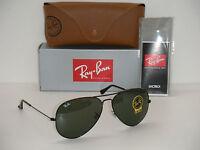 Ray Ban 3026 Aviator Black Frame Rb 3026 L2821 62mm Green G-15 Sunglasses Large