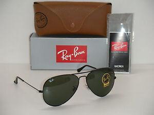 a30f0d9b53 Ray-Ban 3026 AVIATOR BLACK FRAME RB 3026 L2821 62mm GREEN G-15 LARGE ...