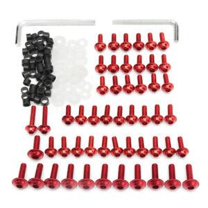 158-x-Verkleidungsschrauben-Kit-Verschluss-Clips-Schrauben-fuer-Motorrad-Rot-Neu