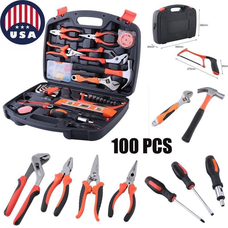 Set Repair Garden Home Household Hard DIY Kit Box Case Tool 100 Handy PCS Tools