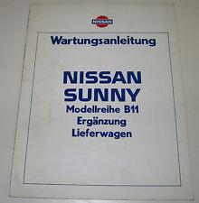 Werkstatthanbuch Ergänzung Nissan Sunny B11 / B 11 Lieferwagen Stand Juli 1983!