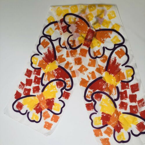 VTG 70's Abstract Butterfly Scarf Head Tie Orange