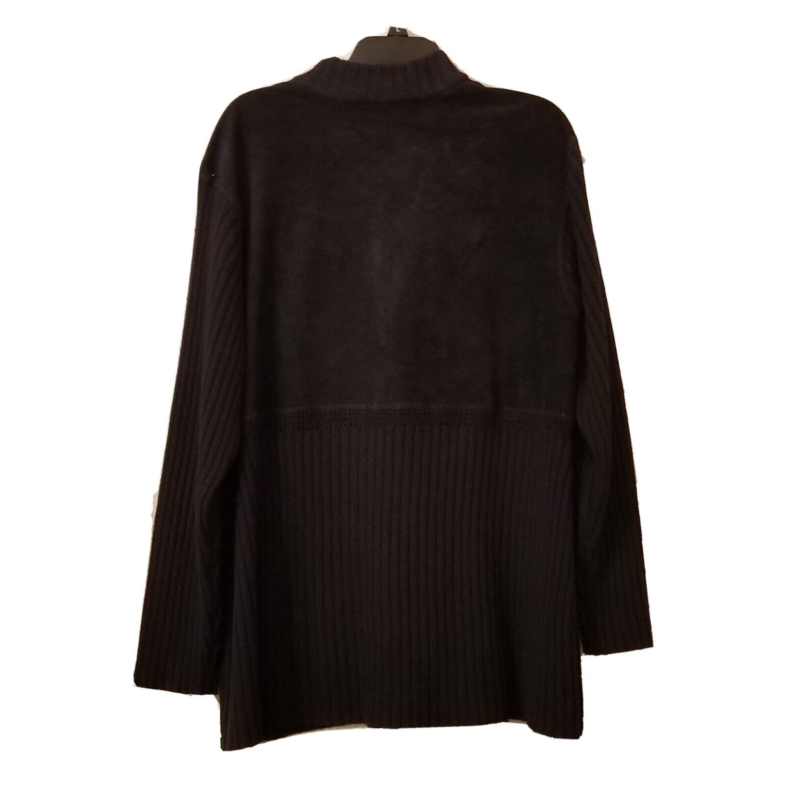 J Jill Cardigan  Wool/suede Leather Blend Woven L… - image 3