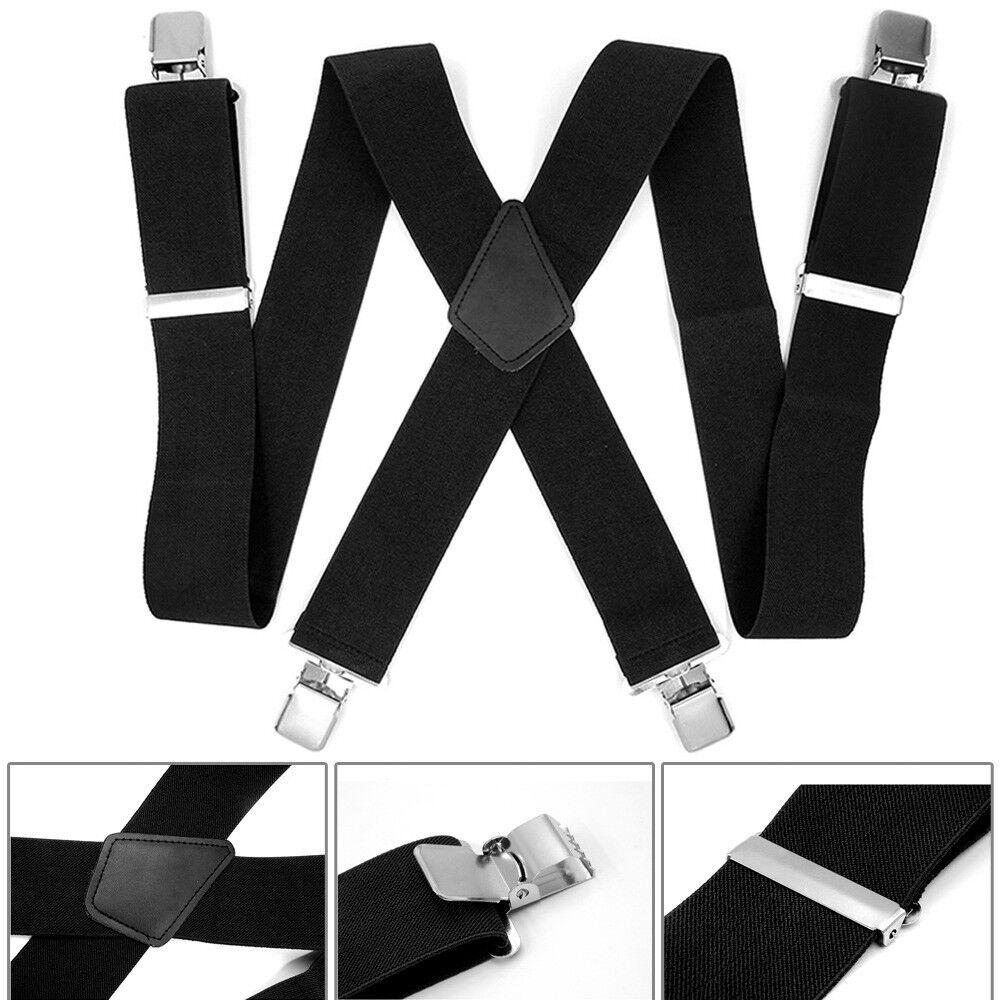 50mm Adjustable Men Heavy Duty Metal Clips Braces Trouser Belt Suspender #T07