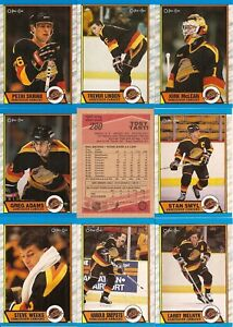 1989-90 OPC O-Pee- Chee Vancouver Canucks Complete Team Set (16)  ff1708234