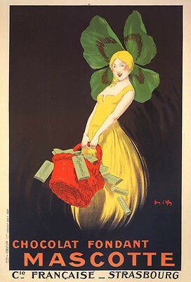 CHOCOLATE FONDANT MASCOTTE GIRL CLOVER HAT CHOCOLATE FRENCH VINTAGE POSTER REPRO