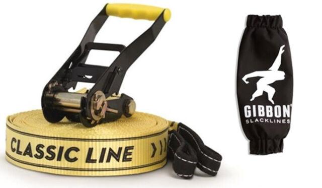 GIBBON SLACKLINE 15m CLASSIC X13 SET 50mm SLACK LINE TIGHT ROPE 13840