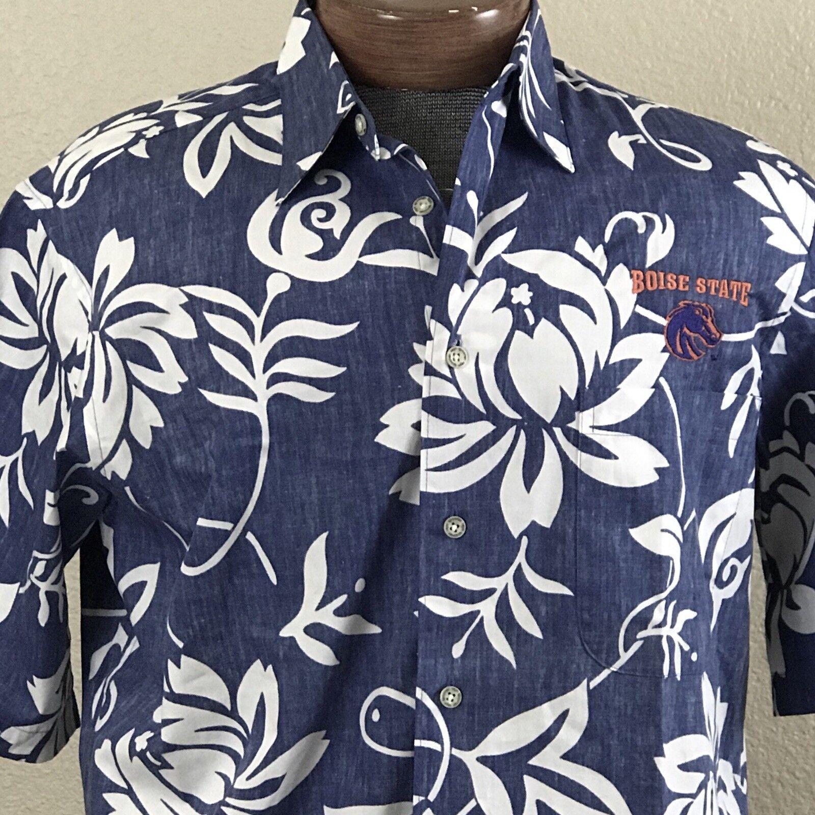 Reyn Spooner Shakeen Small Hawaiian Shirt Boise State Logo Broncos Reverse Idaho