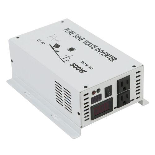 500W 12//24//48V DC to 120//220//240V AC Pure Sine Wave Inverter LED Car//Home Solar