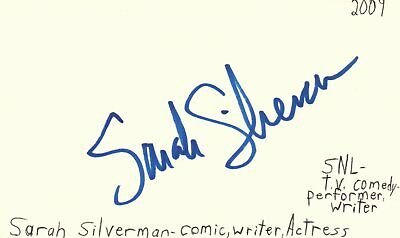 Cards & Papers Entertainment Memorabilia Sarah Silverman Comedian Actress Movie Autographed Signed Index Card Jsa Coa Fine Quality
