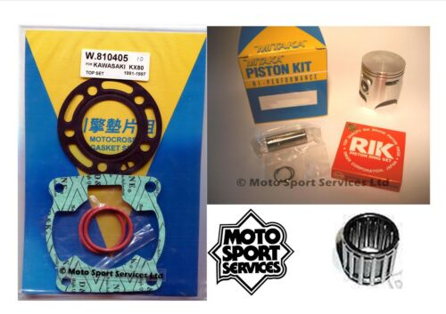 B KX 80 91-97 82cc Mitaka Top End Rebuild Kit Piston Gasket Small End Bearing