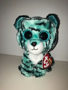 5bb71e2b335 Image is loading TY-TESS-BLUE-TIGER-BEANIE-BOOS-JUSTICE-NEW-