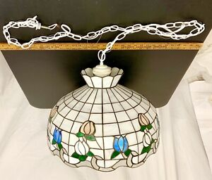 Details About Large Vintage Stained Glass Hanging Lamp Six Light Floral Shade 20 Wide 5 Chain