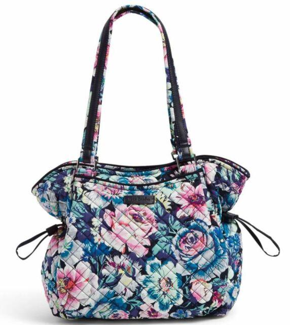 Vera Bradley Iconic Glenna Satchel Garden Grove Navy Floral Medium Zip Top New