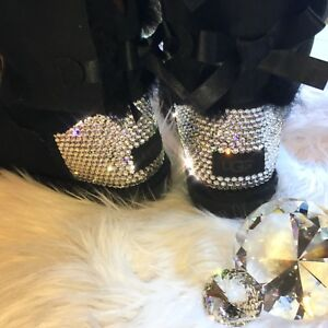 bf0c0a5c9ed Details about Bling Ugg Mini Bailey Bow II w/ Swarovski Crystals Black  Boots Bedazzled by Hand