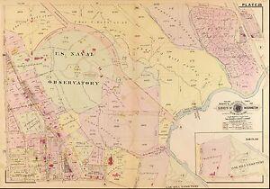 WESLEY CIRCLE  42ST TO 52ND ST BAIST/'S ATLAS MAP 1907 WASHINGTON D.C