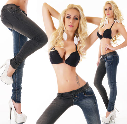 Women/'s Hipster Skinny Blue Jeans Double Look Black Trousers Size 6-14 UK