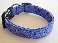 Charming Dark Blue Splashed Fabric Standard Adjustable Dog Collar