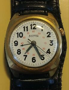 Vintage-Boctok-Watch-Automatic-Gold-Tone-Red-Minute-Indicators