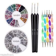 Nail Art Set DIY Kit Rhinestones Crystals Gemstones Wheel Nailart Brushes Tools