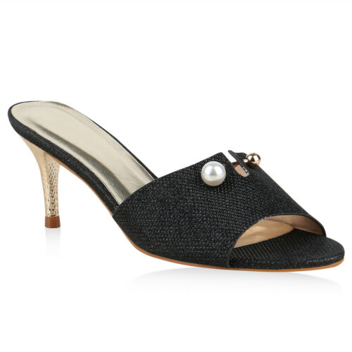Damen Sandaletten Pantoletten Stiletto Party Mules Glitzer 825755 Schuhe
