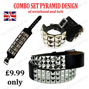 Special-Combo-Offer-Set-Of-UK-Seller-Leather-Pyramid-Studded-Wristband-amp-Belt