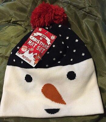 Obbiettivo Bambini Natale Cappello E Guanti Set Con Pupazzo Di Neve Tema Da B&m-mostra Il Titolo Originale