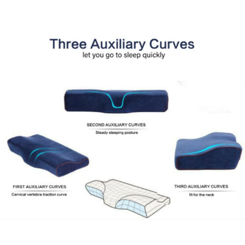 Comfortable Memory Foam Pillow Neck Massage Ergonomic Curve Cervical Orthopedic
