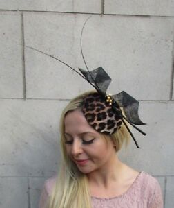 Black Gold Feather Leopard Animal Print Hat Fascinator Races Wedding ... bf450ab750a