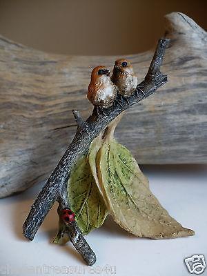 2 birds on branch miniature FAIRY GARDEN HOUSE VILLAGE RESIN 3.5 IN.T YARD decor