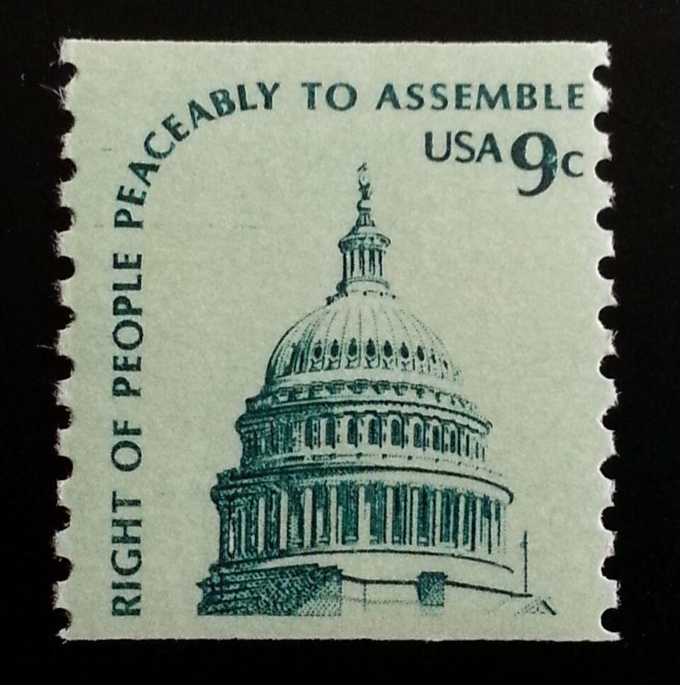 1976 9c Right to Assemble Peaceably, Coil Scott 1616 Mi