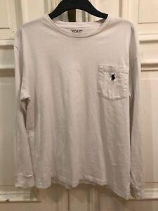 Polo-Ralph-Lauren-Rundhals-Langarm-T-Shirt-T-Shirt-Weiss-Gr-S-100-Baumwolle